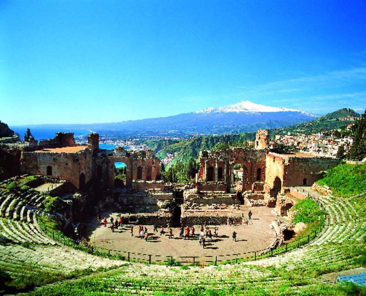 Taormina, Teatro Greco mit Blick auf den Ätna | SIT10100