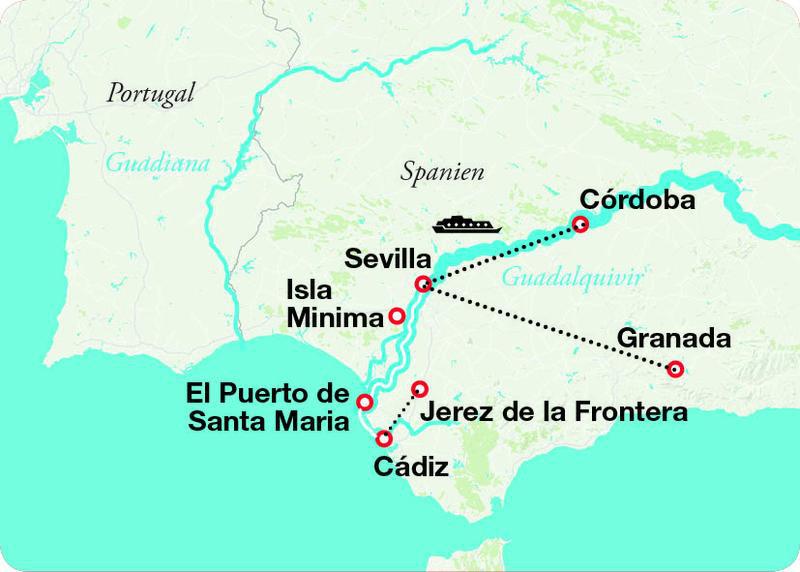 Karte Andalusien Cadiz.Sonniges Andalusien
