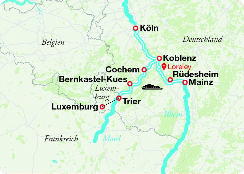 Mosel Karte Mit Allen Orten.Rhein Mosel