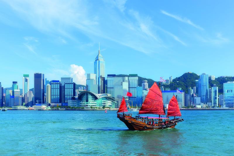 Hongkong, Hafen mit Dschunke | HKG10100