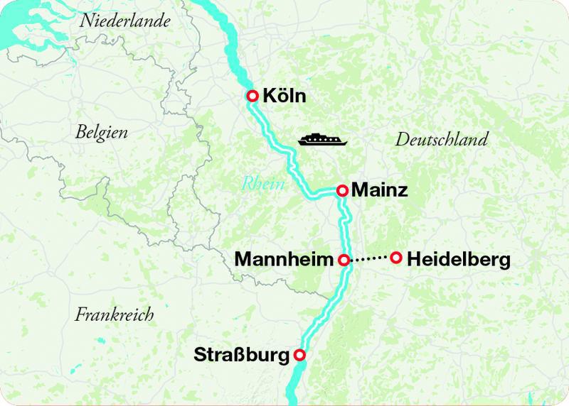 RHN 1850 Flusskreuzfahrt auf dem Rhein von Koeln NACH Stra+ƒburg Advent Landkarte   RHN1051text